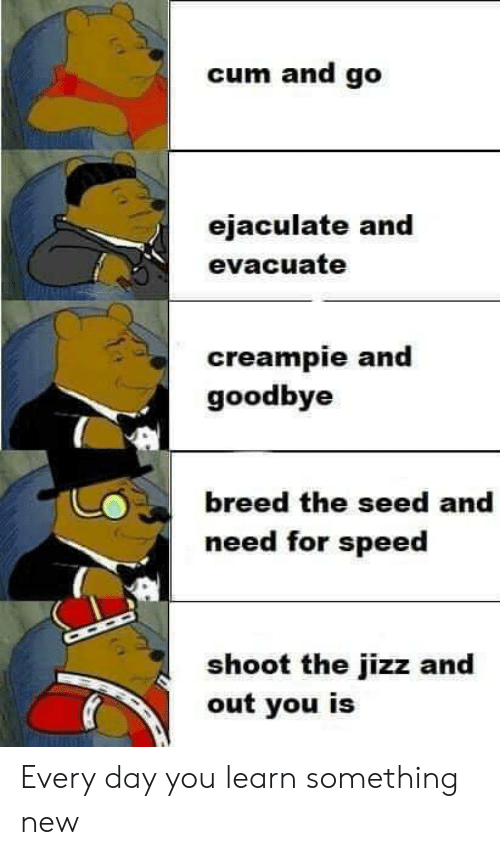 jizz: cum and go  ejaculate and  evacuate  creampie and  goodbye  breed the seed and  need for speed  shoot the jizz and  out you is Every day you learn something new