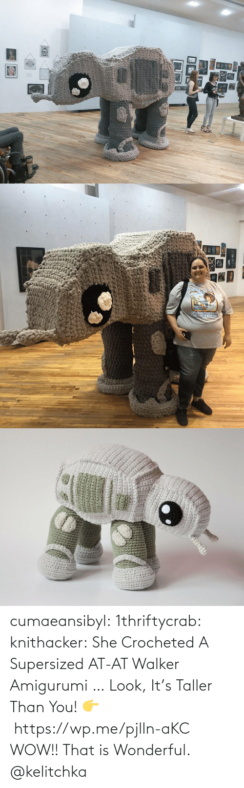 she: cumaeansibyl: 1thriftycrab:  knithacker:  She Crocheted A Supersized AT-AT Walker Amigurumi … Look, It's Taller Than You! 👉 https://wp.me/pjlln-aKC  WOW!! That is Wonderful.   @kelitchka