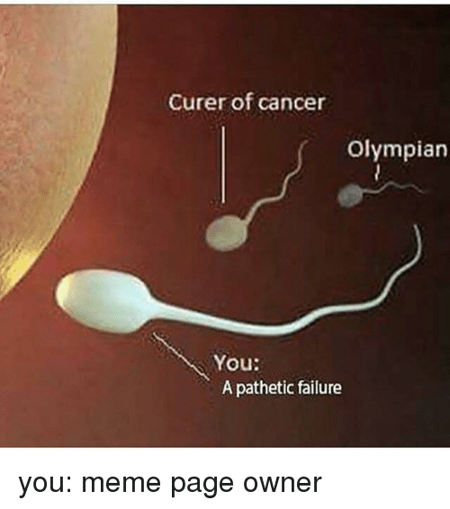 You Meme: Curer of cancer  Olympian  You:  A pathetic failure you: meme page owner