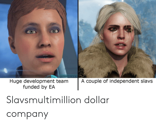 Company, Kennedy, and Team: Current A  Dr Kennedy and th  Huge development team  funded by EA  A couple of independent slavs Slavsmultimillion dollar company