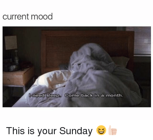 Need Sleep: current mood  need sleep. Come back in a mont This is your Sunday 😆👍🏻