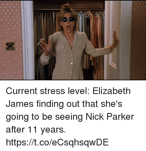 Stress Level: Current stress level: Elizabeth James finding out that she's going to be seeing Nick Parker after 11 years. https://t.co/eCsqhsqwDE