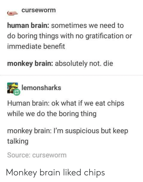 Brain, Monkey, and Gratification: curseworm  human brain: sometimes we need to  do boring things with no gratification or  immediate benefrt  monkey brain: absolutely not. die  monsharks  Human brain: ok what if we eat chips  while we do the boring thing  monkey brain: I'm suspicious but keep  talking  Source: curseworm Monkey brain liked chips
