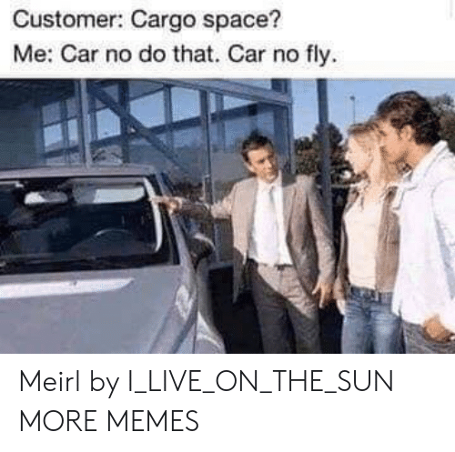 Dank, Memes, and Target: Customer: Cargo space?  Me: Car no do that. Car no fly Meirl by I_LIVE_ON_THE_SUN MORE MEMES