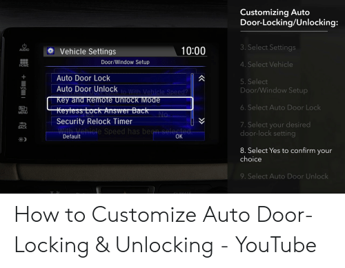 Customizing Auto Door-LockingUnlocking 3 Select Settings 1000 AUDIO