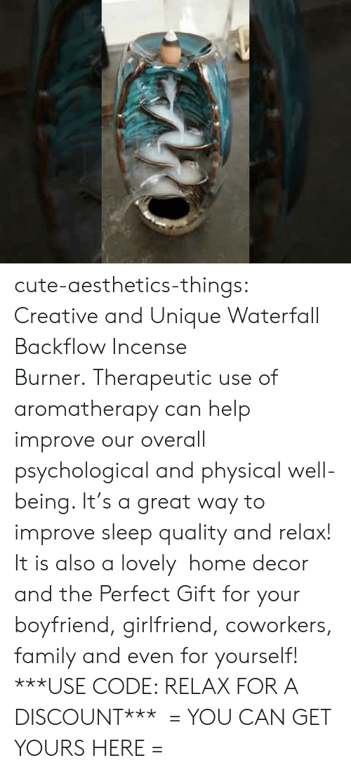 Greateful: cute-aesthetics-things: Creative and Unique Waterfall Backflow Incense Burner. Therapeutic use of aromatherapy can help improve our overall psychological and physical well-being. It's a great way to improve sleep quality and relax! It is also a lovely  home decor and the Perfect Gift for your boyfriend, girlfriend, coworkers, family and even for yourself! ***USE CODE: RELAX FOR A DISCOUNT***  = YOU CAN GET YOURS HERE =