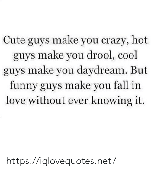 Fall In: Cute guys make you crazy, hot  guys make you drool, cool  guys make you daydream. But  funny guys make you fall in  love without ever knowing it. https://iglovequotes.net/