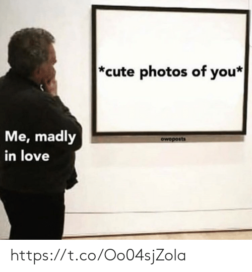 Cute, Love, and Memes: *cute photos of you*  Me, madly  in love  owoposts https://t.co/Oo04sjZola