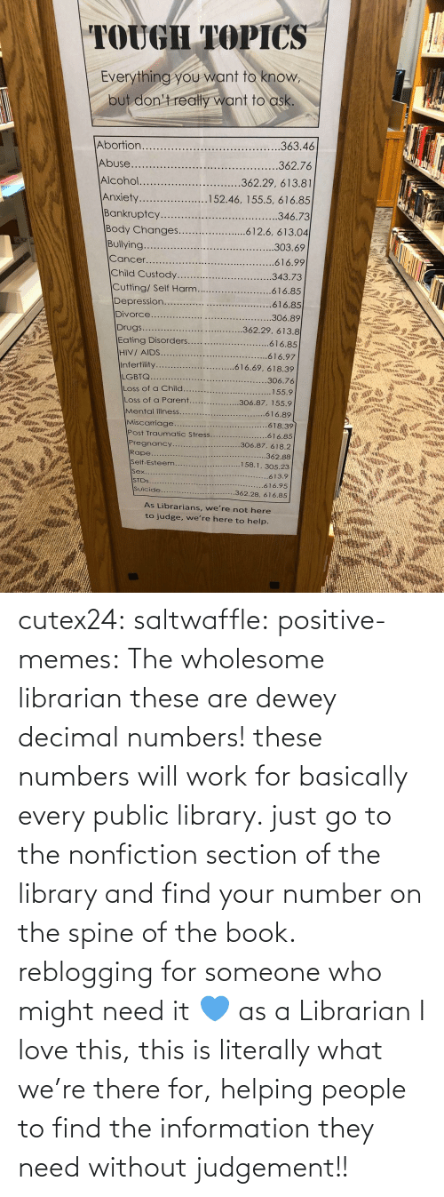 Wholesome: cutex24: saltwaffle:  positive-memes:  The wholesome librarian  these are dewey decimal numbers! these numbers will work for basically every public library. just go to the nonfiction section of the library and find your number on the spine of the book. reblogging for someone who might need it 💙  as a Librarian I love this, this is literally what we're there for, helping people to find the information they need without judgement!!