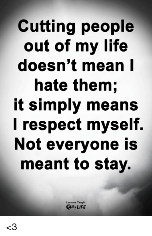 Cutting People Out Of My Life Doesnt Mean L Hate Them It Simply