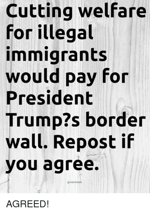 Repost If: Cutting welfare  for illegal  immigrants  would pay for  President  Trump?s border  wall. Repost if  you agree. AGREED!