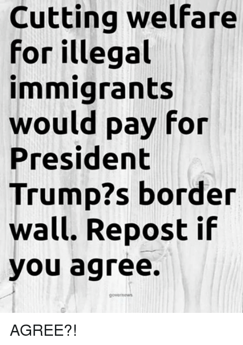 Repost If: Cutting welfare  for illegal  immigrants  would pay for  President  Trump?s border  wall. Repost if  you agree. AGREE?!