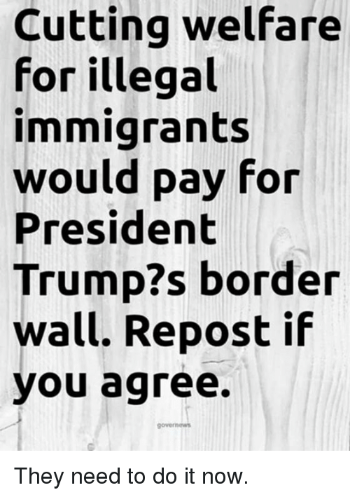 Repost If: Cutting welfare  for illegal  immigrants  would pay for  President  Trump?s border  wall. Repost if  you agree. They need to do it now.