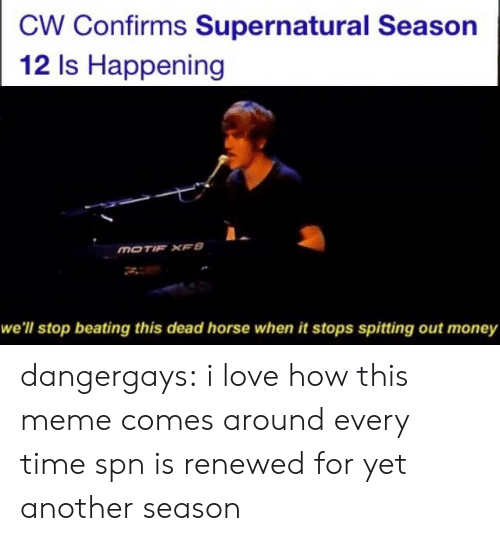 Love, Meme, and Money: CW Confirms Supernatural Season  12 Is Happening  MOTIF XFB  we'll stop beating this dead horse when it stops spitting out money dangergays:  i love how this meme comes around every time spn is renewed for yet another season