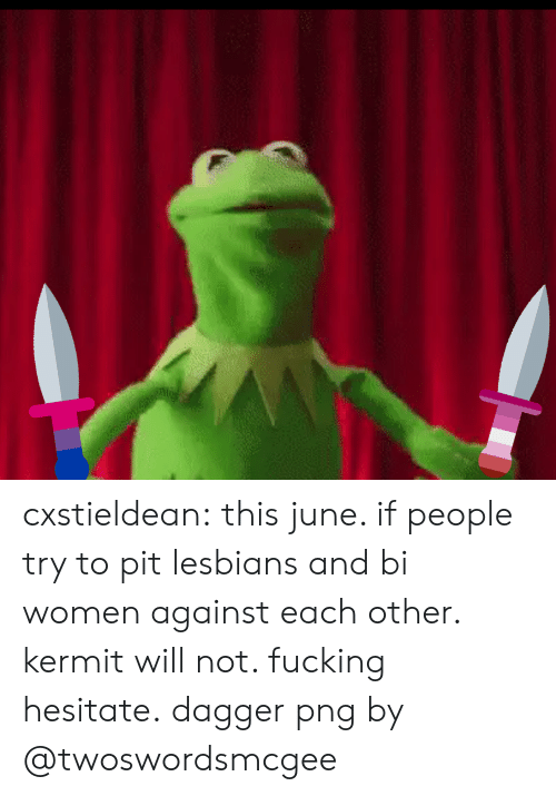 Bi Women: cxstieldean:  this june. if people try to pit lesbians and bi women against each other. kermit will not. fucking hesitate.  dagger png by @twoswordsmcgee