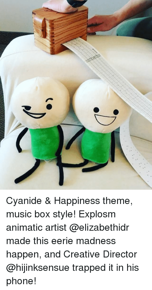 Creativer: Cyanide & Happiness theme, music box style! Explosm animatic artist @elizabethidr made this eerie madness happen, and Creative Director @hijinksensue trapped it in his phone!
