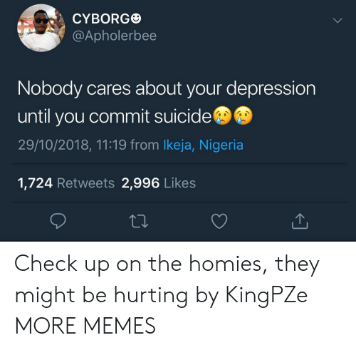 Dank, Memes, and Target: CYBORG  @Apholerbee  Nobody cares about your depression  until you commit suicide  29/10/2018, 11:19 from lkeja, Nigeria  1,724 Retweets 2,996 Likes Check up on the homies, they might be hurting by KingPZe MORE MEMES