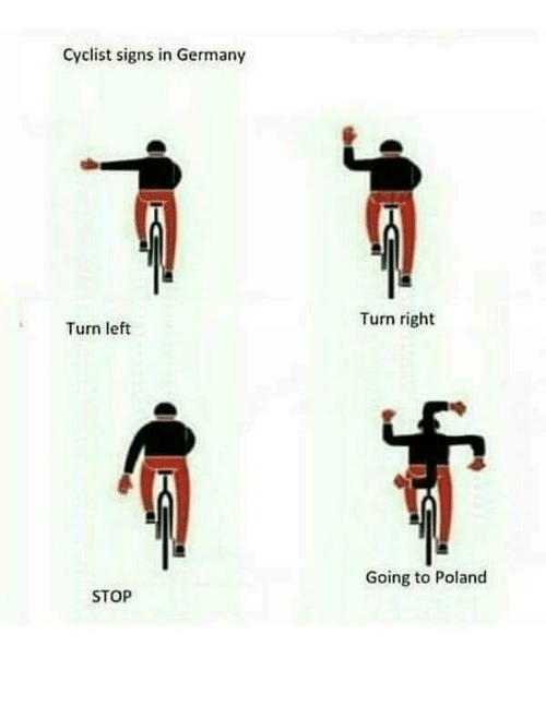 turn left: Cyclist signs in Germany  Turn right  Turn left  Going to Poland  STOP