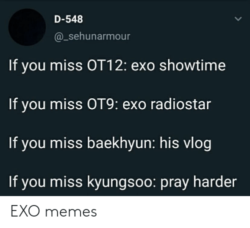Memes, Showtime, and Exo: D-548  @_sehunarmour  If you miss OT12: exo showtime  If you miss OT9: exo radiostar  If you miss baekhyun: his vlog  If you miss kyungsoo: pray harder EXO memes