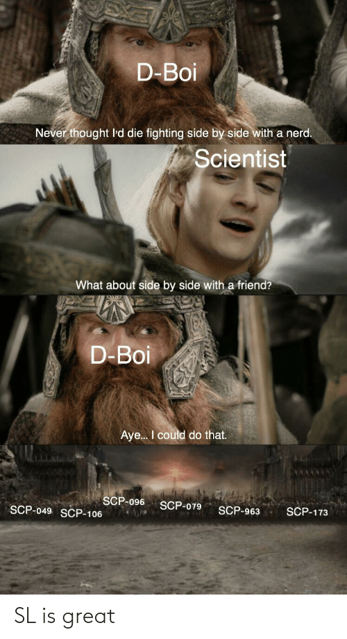 scp-173: D-Boi  Never thought 'd die fighting side by side with a nerd.  Scientist  What about side by side with a friend?  D-Boi  Aye.. I could do that.  SCP-096  SCP-079  SCP-049 SCP-106  SCP-963  SCP-173 SL is great