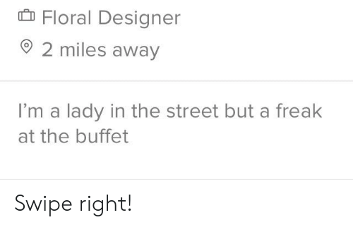The Buffet, Buffet, and The Street: D Floral Designer  o 2 miles away  I'm a lady in the street but a freak  at the buffet Swipe right!