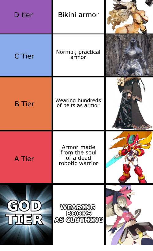 Robotic: D tier  Bikini armor  C Tier  Normal, practical  armor  B Tier  Wearing hundreds  of belts as armor  Armor made  from the soul  of a dead  robotic warrior  A Tier  WEARING  BOOKS  TIER AS CLOHNS