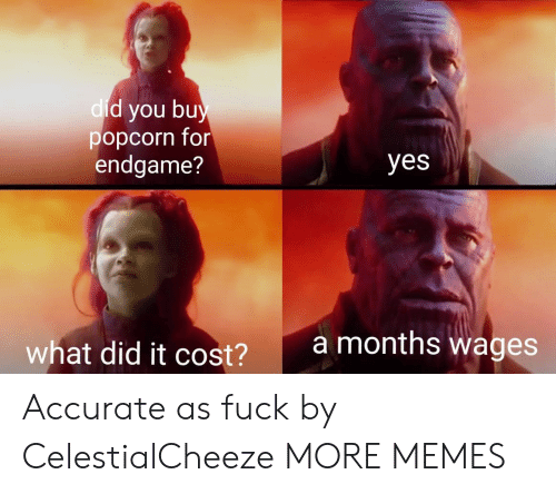 What Did It Cost: d you bu  popcorn for  endgame?  dic  yes  amonths wages  what did it cost?  2 Accurate as fuck by CelestialCheeze MORE MEMES