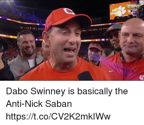 Nfl, Nick Saban, and Nick: Dabo Swinney is basically the Anti-Nick Saban  https://t.co/CV2K2mkIWw