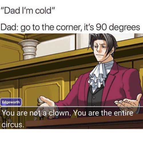 """Circus: """"Dad I'm cold""""  Dad: go to the corner, it's 90 degrees  Edgeworth  You are not a clown. You are the entire  circus. You fell victim to one of the classic blunders!"""