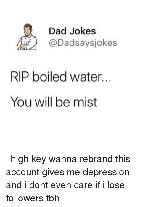 Dad, Memes, and Tbh: Dad Jokes  @Dadsaysjokes  RIP boiled water...  You will be mist i high key wanna rebrand this account gives me depression and i dont even care if i lose followers tbh