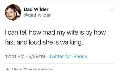 Dad, Iphone, and Twitter: Dad Wilder  @dad_wilder  I can tell how mad my wife is by how  fast and loud she is walking.  12:41 PM 6/29/19 Twitter for iPhone  J View Tweet activity