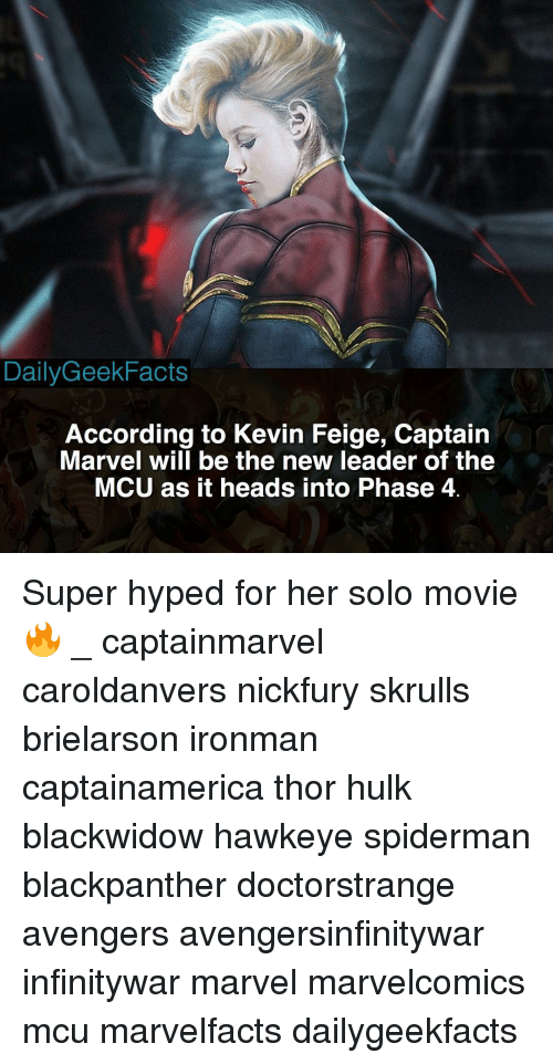Dailygeekfacts According To Kevin Feige Captain Marvel Will Be The