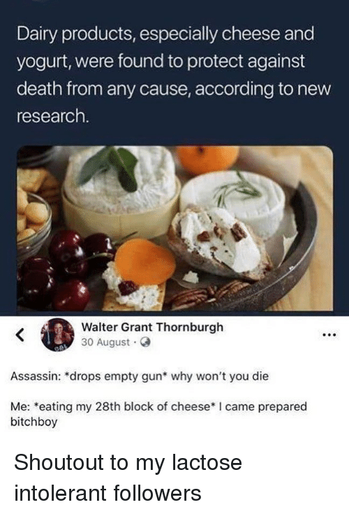 Lactose Intolerant: Dairy products, especially cheese and  yogurt, were found to protect against  death from any cause, according to new  research  Walter Grant Thornburgh  30 August G  Assassin: *drops empty gun* why won't you die  Me: *eating my 28th block of cheese*I came prepared  bitchboy Shoutout to my lactose intolerant followers