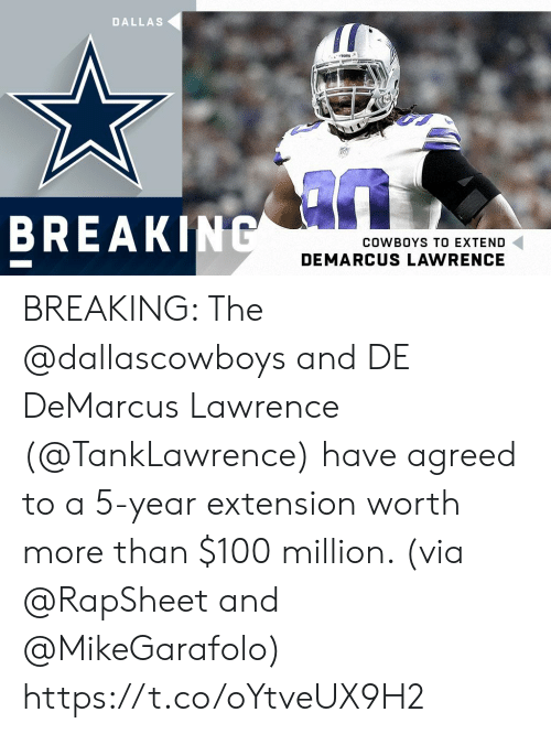 Extend: DALLAS  BREAK  COWBOYS TO EXTEND  DEMARCUS LAWRENCE BREAKING: The @dallascowboys and DE DeMarcus Lawrence (@TankLawrence) have agreed to a 5-year extension worth more than $100 million. (via @RapSheet and @MikeGarafolo) https://t.co/oYtveUX9H2