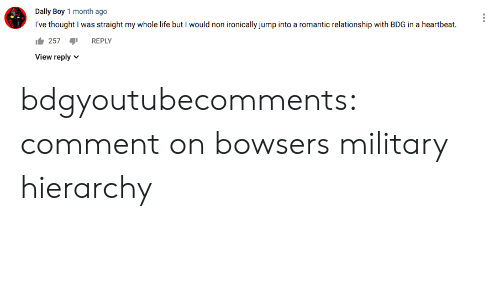 ironically: Dally Boy 1 month ago  I've thought I was straight my whole life but I would non ironically jump into a romantic relationship with BDG in a heartbeat  257  REPLY  View reply  V bdgyoutubecomments:  comment on bowsers military hierarchy