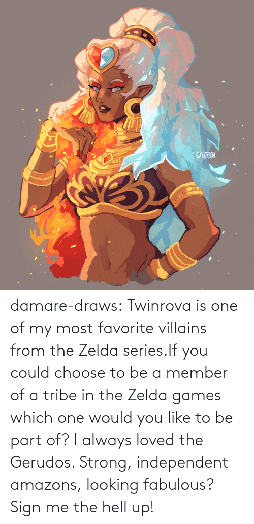 The Hell: damare-draws:    Twinrova is one of my most favorite villains from the Zelda series.If you could choose to be a member of a tribe in the Zelda games which one would you like to be part of? I always loved the Gerudos. Strong, independent amazons, looking fabulous? Sign me the hell up!