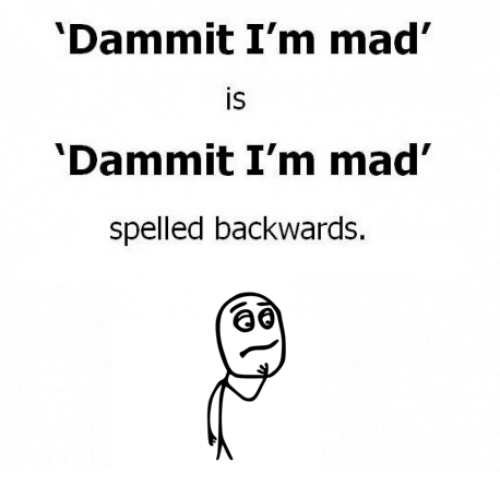 Memes, Mad, and 🤖: Dammit I'm mad  IS  Dammit I'm mad  spelled backwards.
