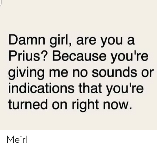 Me No: Damn girl, are you a  Prius? Because you're  giving me no sounds or  indications that you're  turned on right now. Meirl