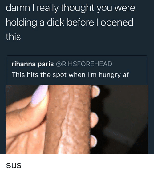 Af, Hungry, and Memes: damn I really thought you were  holding a dick before l opened  this  rihanna paris @RIHSFOREHEAD  This hits the spot when I'm hungry af sus