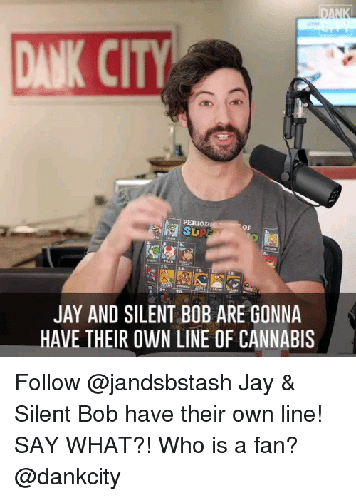 Jay, Memes, and Period: DAN  ANK CITY  PERIOD  OF  JAY AND SILENT BOB ARE GONNA  HAVE THEIR OWN LINE OF CANNABIS Follow @jandsbstash Jay & Silent Bob have their own line! SAY WHAT?! Who is a fan? @dankcity