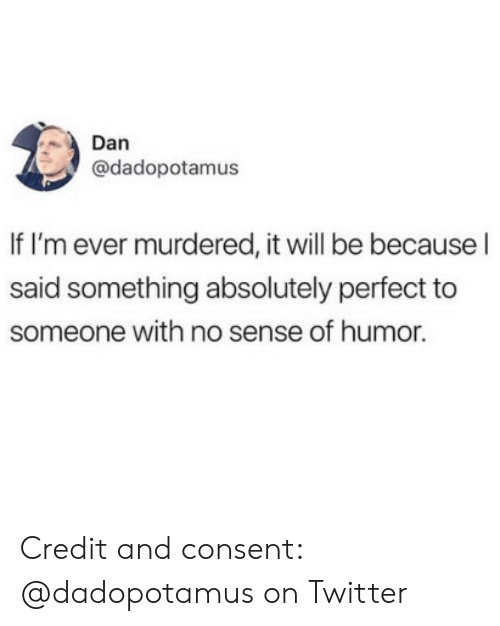 Twitter, Will, and Humor: Dan  @dadopotamus  If I'm ever murdered, it will be because l  said something absolutely perfect to  someone with no sense of humor. Credit and consent: @dadopotamus on Twitter