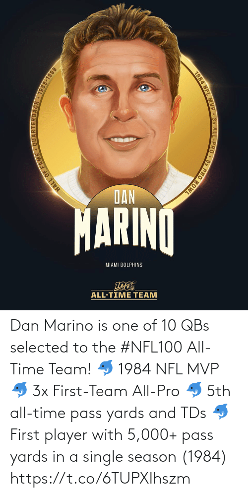 A Single: DAN  MARINO  MIAMI DOLPHINS  ALL-TIME TEAM  HALL OF  JACK 1983-1999  1984 NFL MVP 3x ALL-PRO 9x PRO BOWL Dan Marino is one of 10 QBs selected to the #NFL100 All-Time Team!  🐬 1984 NFL MVP 🐬 3x First-Team All-Pro 🐬 5th all-time pass yards and TDs 🐬 First player with 5,000+ pass yards in a single season (1984) https://t.co/6TUPXIhszm
