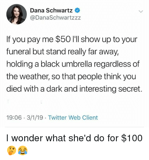 Anaconda, Memes, and Twitter: Dana Schwartz  @DanaSchwartzzz  If you pay me $50 I'll show up to your  funeral but stand really far away,  holding a black umbrella regardless of  the weather, so that people think you  died with a dark and interesting secret.  19:06 3/1/19 Twitter Web Client I wonder what she'd do for $100 🤔😂