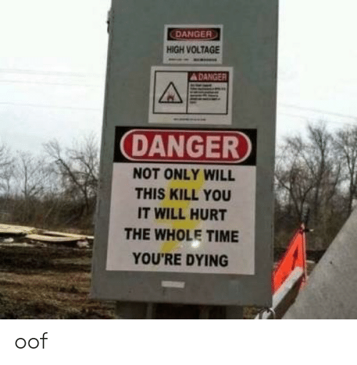 voltage: DANGER  HIGH VOLTAGE  DANGER  NOT ONLY WILL  THIS KILL YOU  IT WILL HURT  THE WHOLE TIME  YOU'RE DYING oof