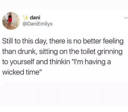 """Grinning: dani  @DaniEmilyx  Still to this day, there is no better feeling  than drunk, sitting on the toilet grinning  to yourself and thinkin """"I'm having a  wicked time"""""""