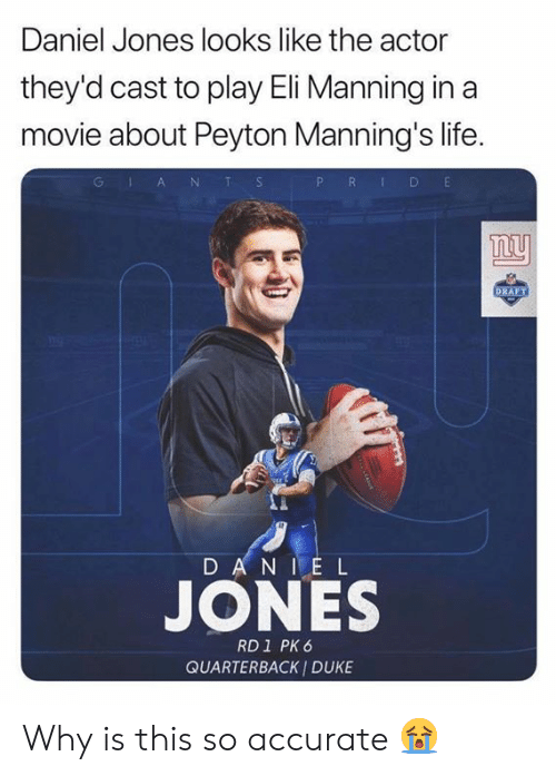 Eli Manning, Life, and Nfl: Daniel Jones looks like the actor  they'd cast to play Eli Manning in a  movie about Peyton Manning's life.  P R D E  GlA NT S  ny  DRAFT  D AN IE L  JONES  RD1 PK 6  QUARTERBACK I DUKE Why is this so accurate 😭