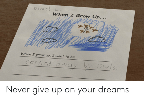 Dreams, Never, and Grow: Daniel L  When I Grow Up...  When I grow up, I want to be...  Carricd away by OwLs Never give up on your dreams