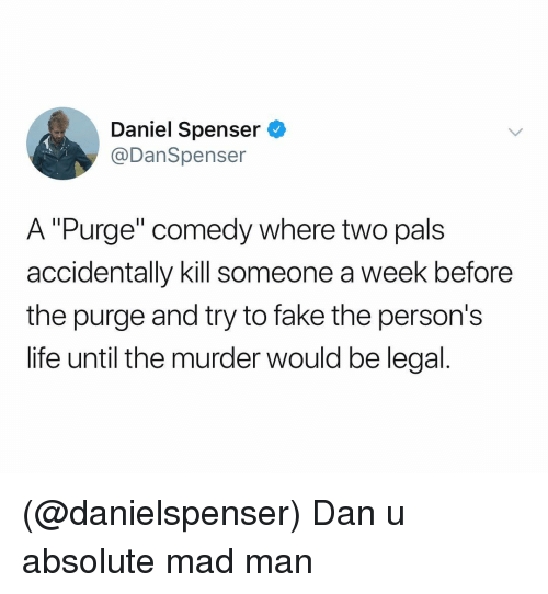 "Fake, Life, and The Purge: Daniel Spenser  @DanSpenser  A ""Purge"" comedy where two pals  accidentally kill someone a week before  the purge and try to fake the person's  life until the murder would be legal (@danielspenser) Dan u absolute mad man"