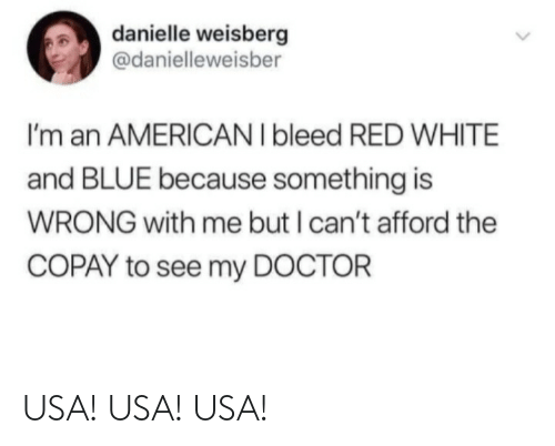 To See: danielle weisberg  @danielleweisber  I'm an AMERICAN I bleed RED WHITE  and BLUE because something is  WRONG with me but I can't afford the  COPAY to see my DOCTOR USA! USA! USA!