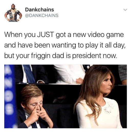 Dad, Game, and Video: Dankchains  @DANKCHAINS  When you JUST got a new video game  and have been wanting to play it all day,  but your friggin dad is president now